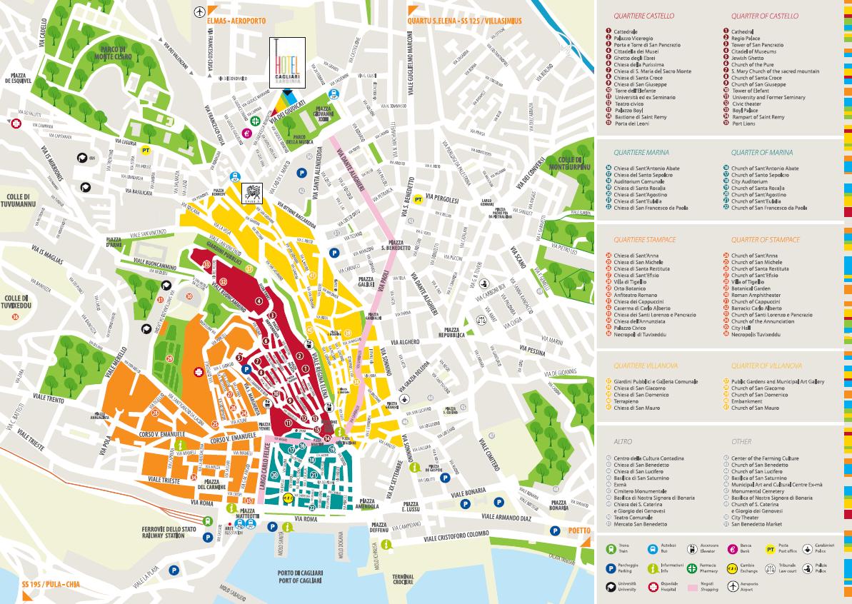 Cartina Geografica Di Cagliari.I Quartieri Storici Della Citta Del Sole